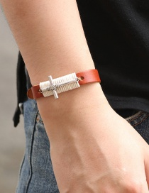 Fashion Brown Wax Rope Alloy Cross Leather Bracelet