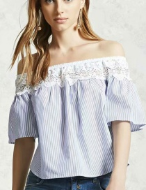 Fashion Blue Lace Stitching Striped Top