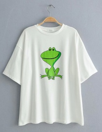 Fashion White Little Frog Print Round Neck T-shirt