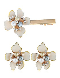Fashion White Alloy Pearl Flower Hairpin Earring Set