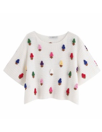 Fashion White Ice Cream Print Texture Round Neck Pullover