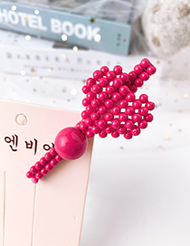 Fashion Rose Red Alloy Resin Love Duckbill Hairpin