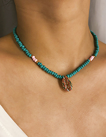 Fashion Printed Shell Green Pearl Multilayer Shell Bead Necklace