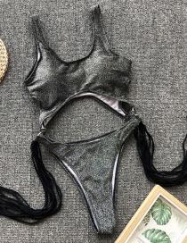 Fashion Gray Light Hollow Steel Ring Tassel One-piece Swimsuit