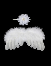 Fashion White Feather Angel Wings Chiffon Flower Diamond Baby Headband Set