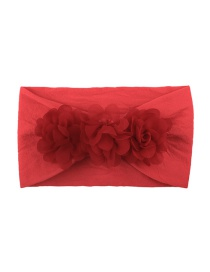 Fashion Red Chiffon Flower Nylon Baby Hair Band