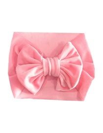 Fashion Pink Gold Velvet Bow Wide Version Elastic Children's Hair Band