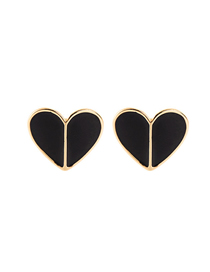 Fashion Black Drop Oil Love Heart-shaped Earrings