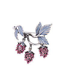 Fashion Silver Drip Oil Leaf Fruit Brooch