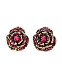 Fashion Rose Red Rose Flower Earrings