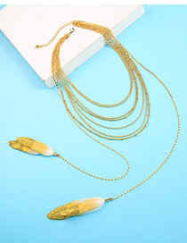 Fashion Gold Multilayer Feather Pendant Necklace