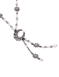 Fashion Black Star And Moon Diamond Necklace