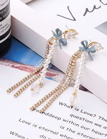 Fashion Gold S925 Silver Needle Bow With Diamond Pearl Stud Earrings