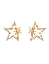 Fashion Gold S925 Silver Needle Star Zircon Earrings