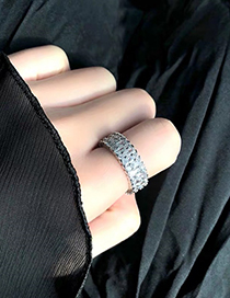 Fashion Silver Zircon Wide-faced Ring