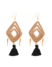 Fashion Black Alloy Shell Rattan Diamond Tassel Earrings