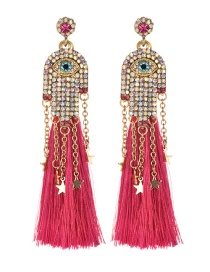 Fashion Red Alloy Studded Palm Tassel Earrings