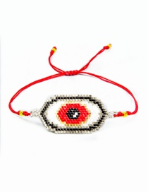 Fashion Red Rice Beads Woven Tassel Eye Bracelet