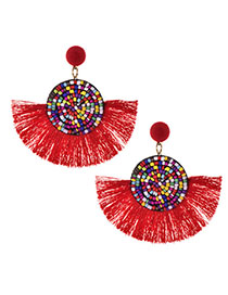Fashion Red Alloy Rice Beads Tassel Earrings
