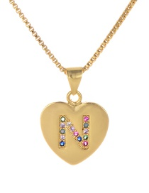 Fashion N Gold Copper Inlaid Zircon Color Letter Necklace
