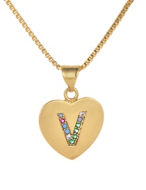 Fashion V Gold Copper Inlaid Zircon Color Letter Necklace