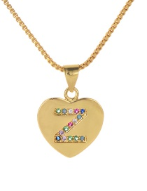 Fashion Z Gold Copper Inlaid Zircon Color Letter Necklace