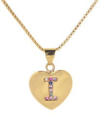Fashion I Gold Copper Inlaid Zircon Color Letter Necklace