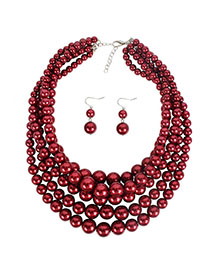 Fashion Red Wine Imitation Pearl Multi-layer Necklace