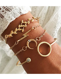Fashion Gold Leaf Moon Lightning Bracelet Set