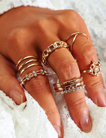 Fashion Gold Openwork Carved Double-layer Cross-studded Alloy Ring Set Of 8