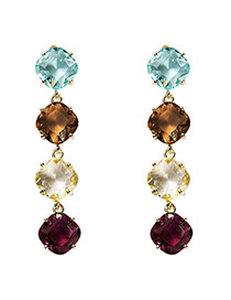 Fashion Color Square Gemstone 925 Hypoallergenic Earrings
