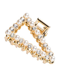 Fashion Gold Geometric Pearl-studded Hair Clip