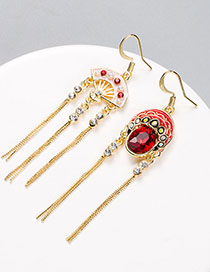Fashion Red + Pink Asymmetrical Tassel Earring