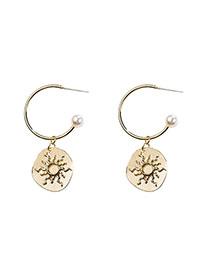 Fashion Gold Sun Pattern Metal C-shaped S925 Hypoallergenic Earrings