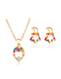Fashion Color Alloy Love Flower Necklace Stud Earring Set