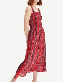 Fashion Red Contrast Printed Strap Dress