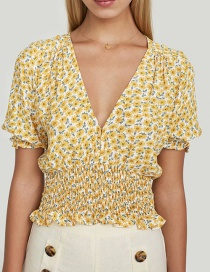 Fashion Yellow Yellow Flower Elastic Top