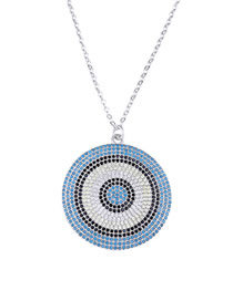 Fashion Silver Gold-plated Eye Round Necklace