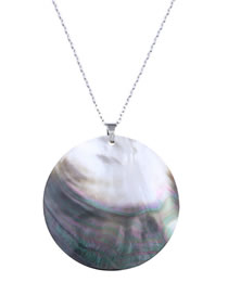 Fashion White Color Natural Color Shell Copper Plated Gold Necklace