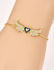 Fashion Gold Copper Inlay Zircon Love Wings Bracelet