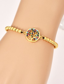 Fashion Gold Copper Inlaid Zircon Beaded Life Tree Bracelet
