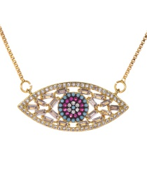 Fashion Gold Copper Inlay Zircon Eye Necklace