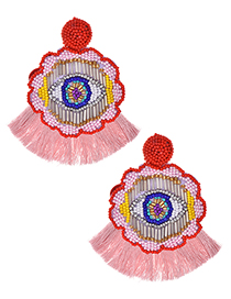 Fashion Pink + Red Rice Beads Flower Eyes Tassel Earrings