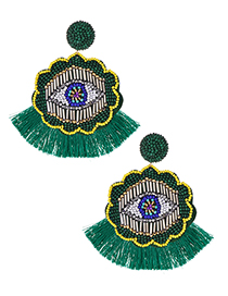 Fashion Green Rice Beads Flower Eyes Tassel Earrings