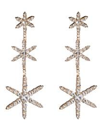 Fashion Gold Multi-layer Acrylic Diamond Star Earrings