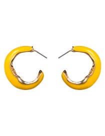Fashion Yellow C-shaped Alloy Drop Earrings