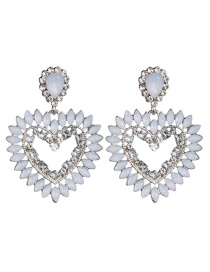 Fashion White Openwork Heart Shaped Diamond Acrylic Earrings