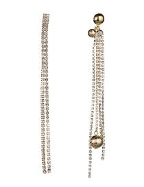 Fashion Gold Acrylic Diamond Diamond Ball Asymmetric Earrings