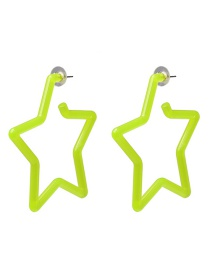 Fashion Yellow Geometric Fluorescent Pentagram Acrylic Earrings