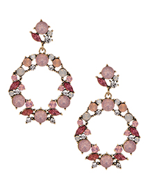 Fashion Pink Alloy Diamond Round Earrings